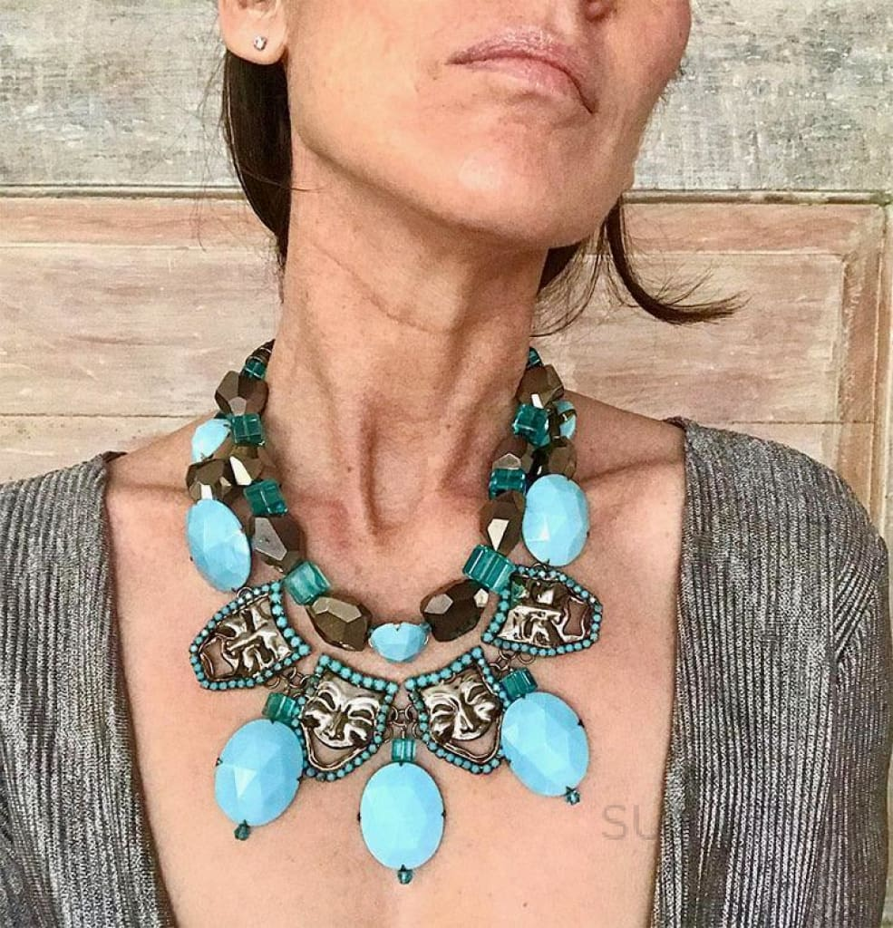 FACE OFF OOAK STATEMENT NECKLACE