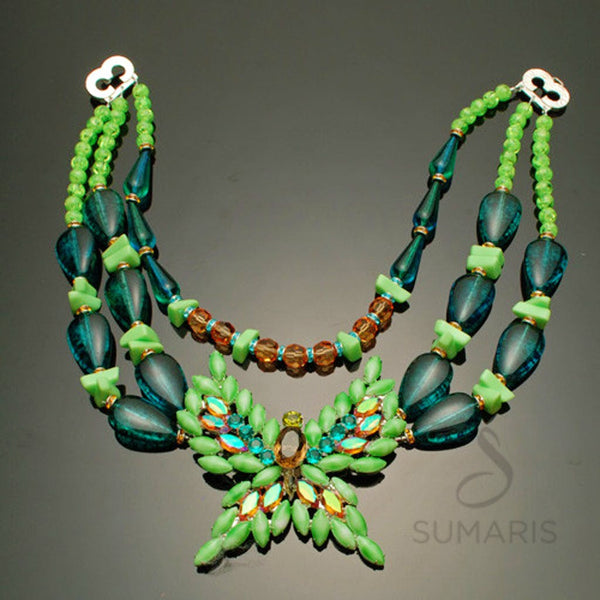 Flutter-By Once Necklace Sumaris Aqua Green Necklaces Vintage Brooch Women Sumaris Flutter-By Once Flutter-By Once