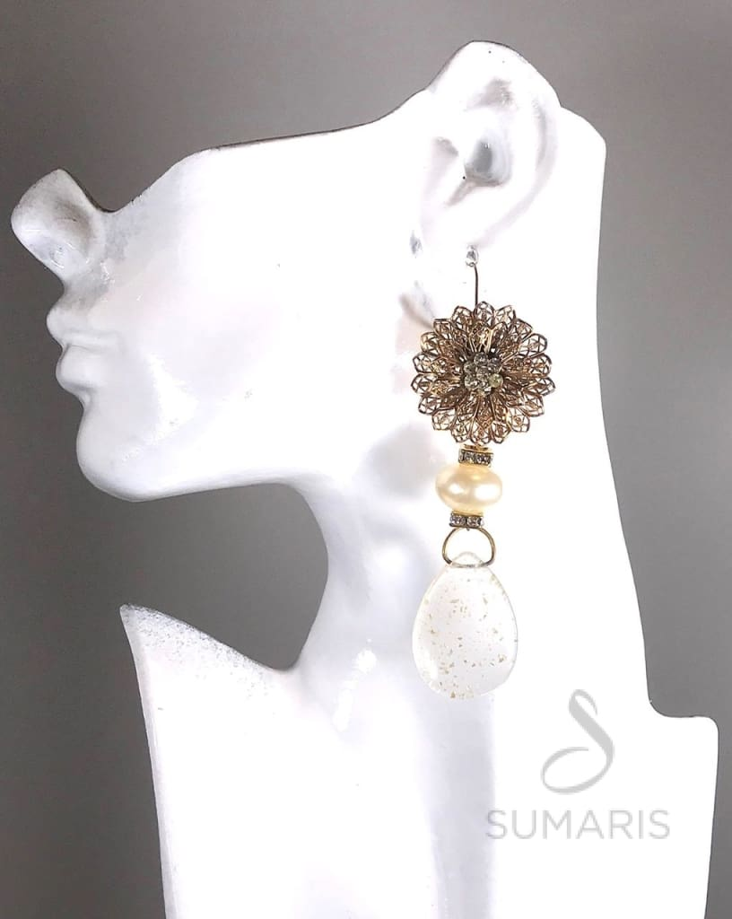 GOLD MUMS OOAK STATEMENT EARRINGS Earrings