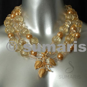 Golden Buds Necklace Sumaris Gold-colored Necklaces Vintage Brooch White / Clear Women Sumaris Golden Buds Golden Buds