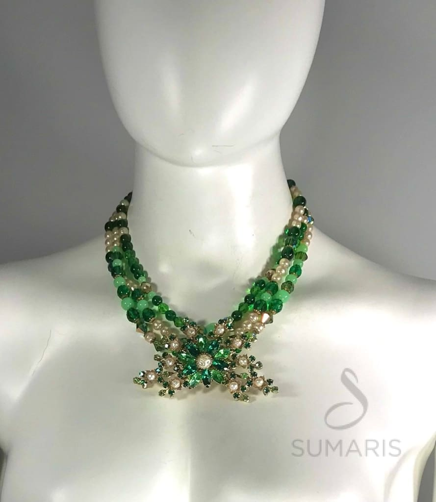 Green Floral Necklace Sumaris Green Necklaces Sumaris Green Floral Green Floral
