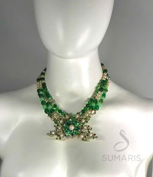 GREEN FLORAL OOAK STATEMENT NECKLACE Necklace