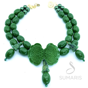 GREEN LOTUS OOAK STATEMENT NECKLACE
