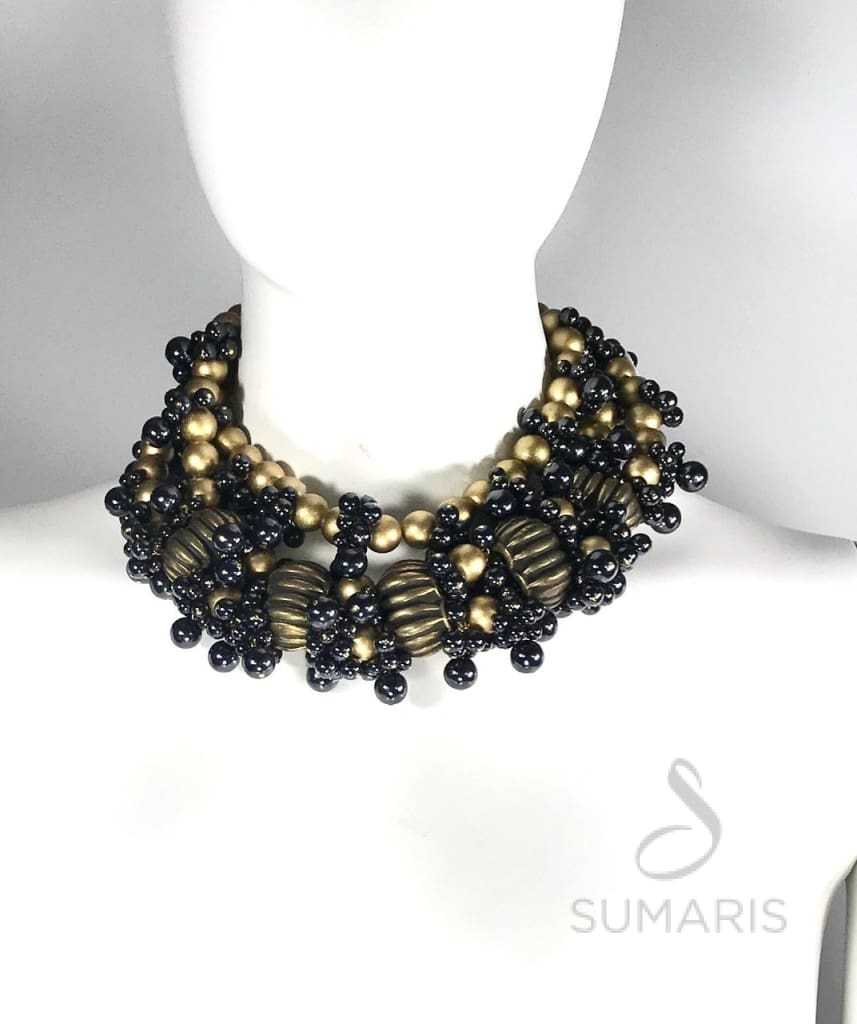 Herculaneum Necklace Sumaris Black / Grey Gold-colored Necklaces Women Sumaris Herculaneum Herculaneum