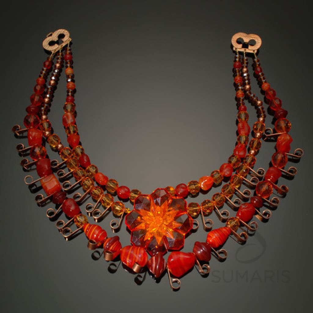 Jubilee Necklace Sumaris Copper-colored Necklaces Red / Orange Vintage Brooch Women Sumaris Jubilee Jubilee