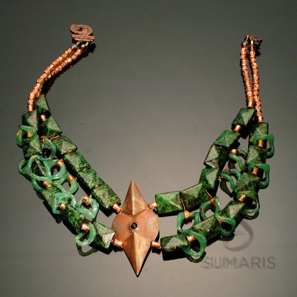 Luces Green Necklace Sumaris Copper-colored Green Necklaces Vintage Brooch Women Sumaris Luces Green Luces Green