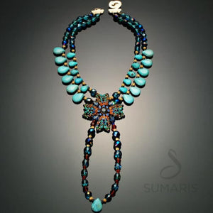 Maltesas Necklace Sumaris Aqua Costume Jewelry Necklaces $250.00 Sumaris