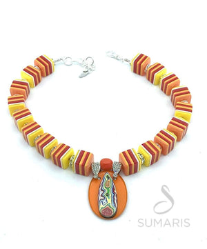 ORANGE SLICES OOAK STATEMENT NECKLACE