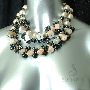 Pebbles Necklace Sumaris Black / Grey Necklaces White / Clear Women Sumaris Pebbles Pebbles