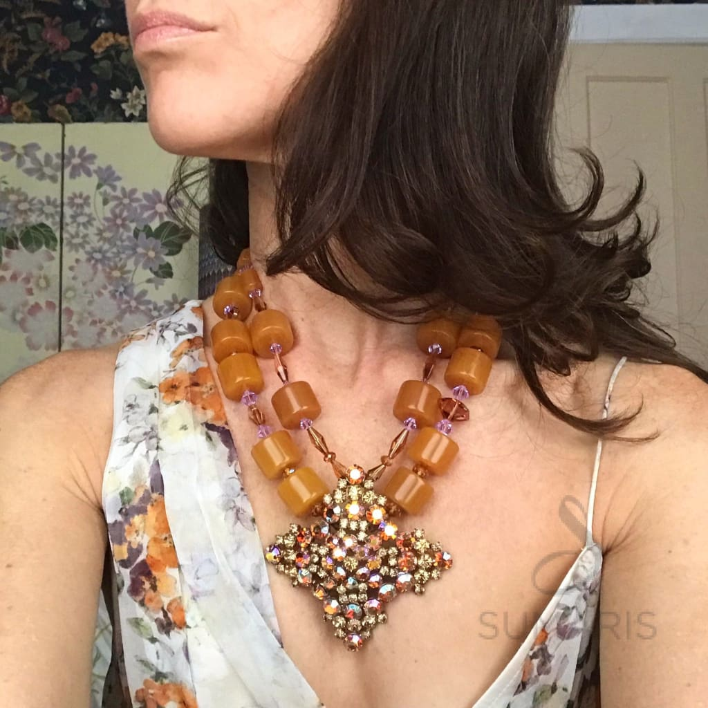 ROSY FINGERED DAWN OOAK STATEMENT NECKLACE Necklace