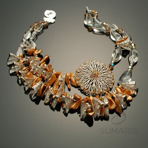 Sea Creatures Necklace Sumaris Gold-colored Necklaces Vintage Brooch White / Clear Women Sumaris Sea Creatures Sea Creatures