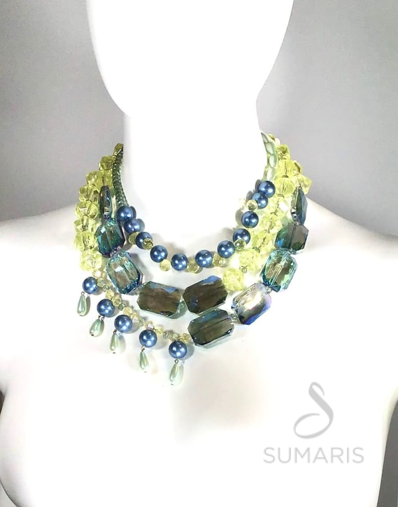 Smash Necklace Sumaris Aqua Blue Necklaces Women Yellow Sumaris Smash Smash