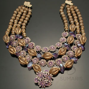 Vienna Necklace Sumaris beautiful costume jewelry Gold-colored Necklaces Purple Vintage Brooch Women Sumaris Vienna Vienna