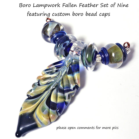 Lampwork Feather Trio