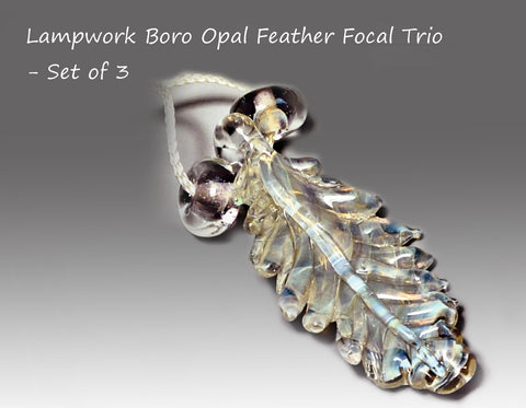 Boro Lampwork Feather Trio