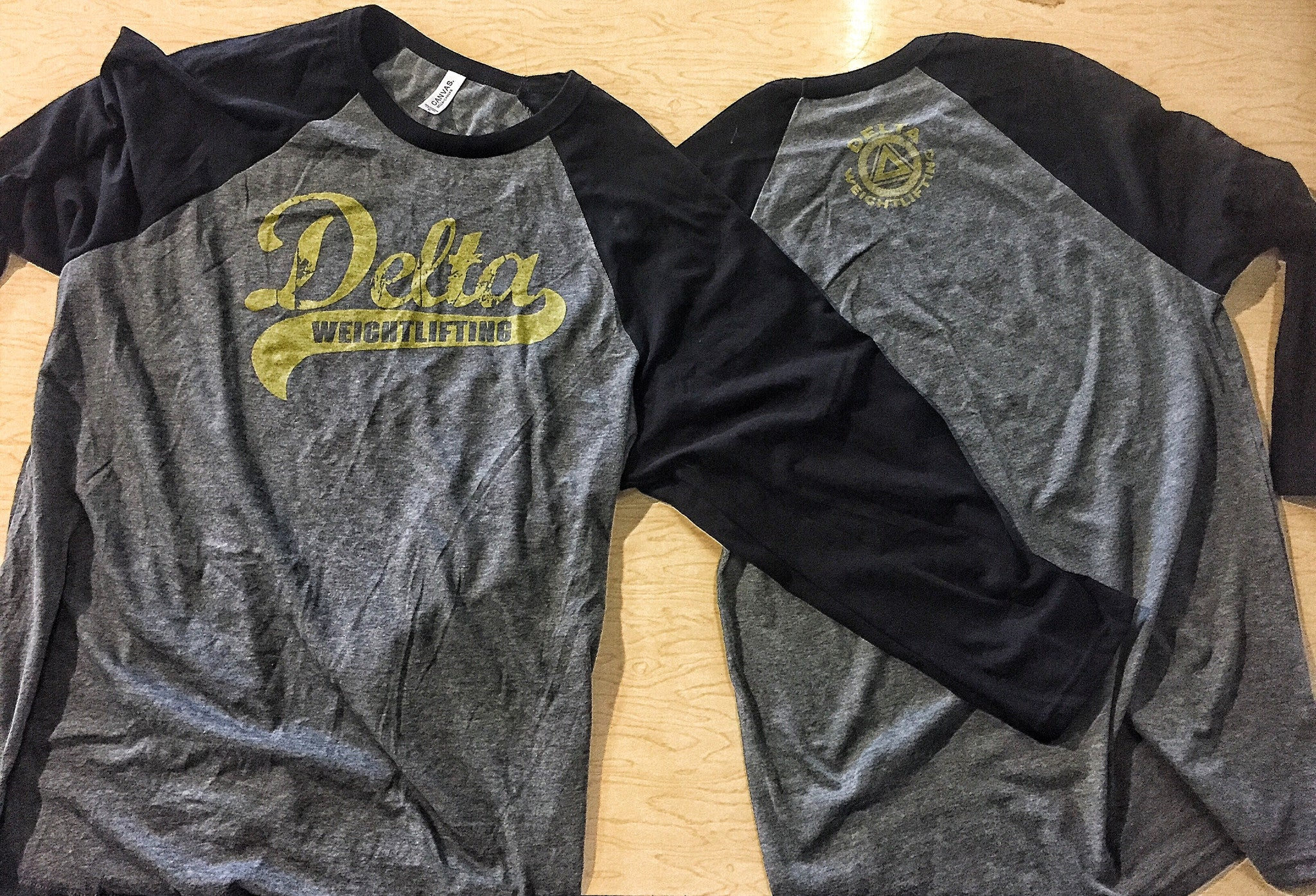 DELTA Weightlifting Baseball T-Shirt (Charcoal Unisex)