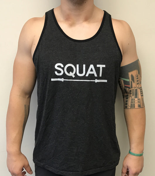 """SQUAT"" Tri-Blend Tank Top (Charcoal Black/BlackTrim Unisex)"