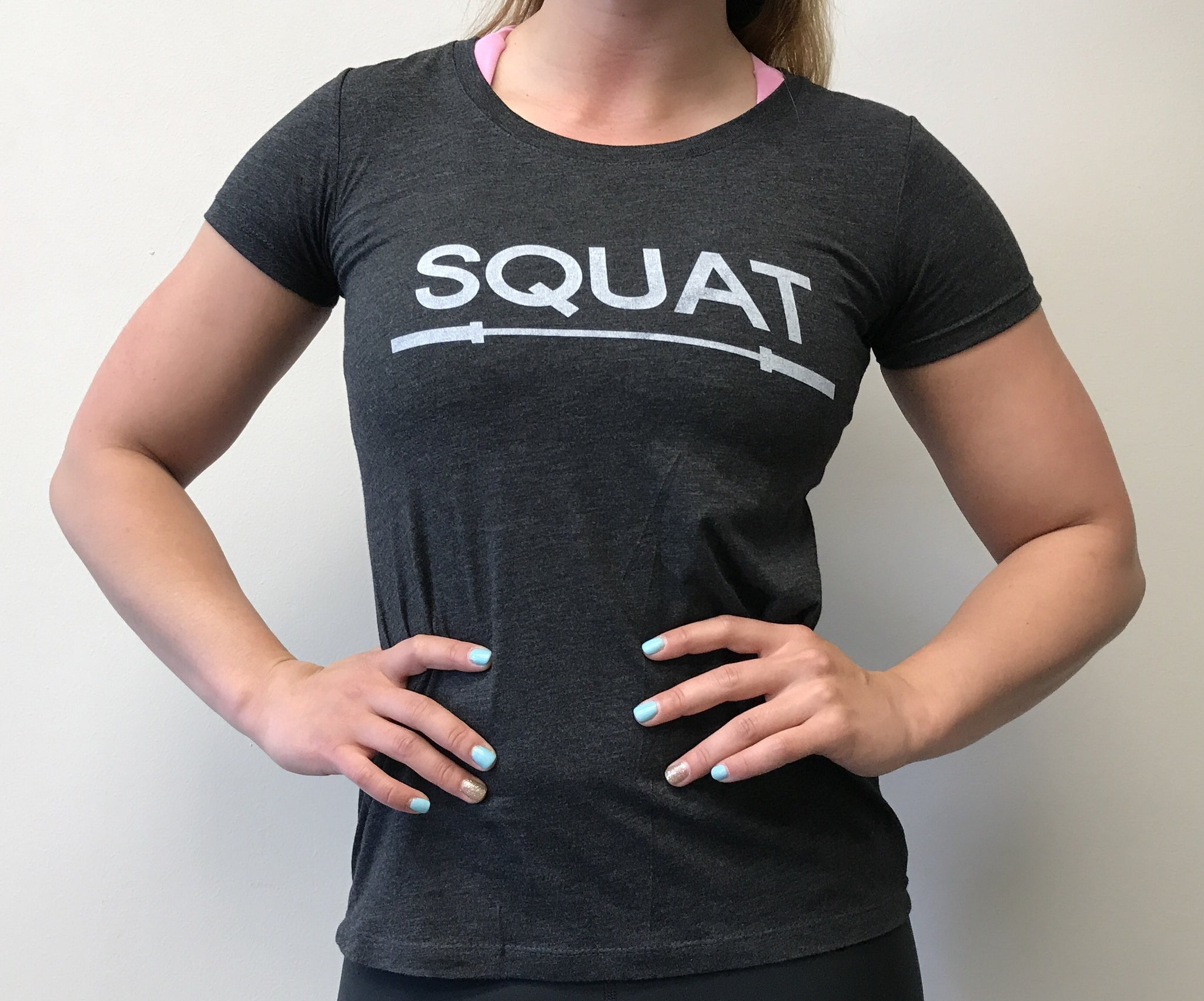 """SQUAT"" Tri-Blend Crew (Charcoal Black Women's)"