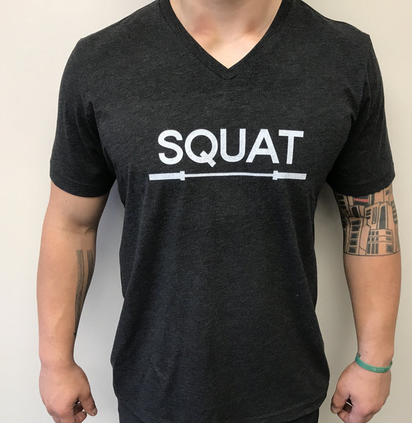 """SQUAT"" Tri-Blend V-Neck (Charcoal Black Unisex)"