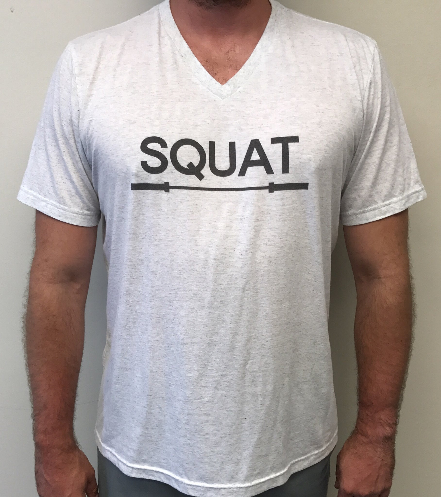 """SQUAT"" Tri-Blend V-Neck (White Fleck Unisex)"