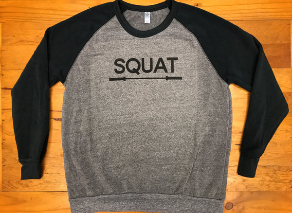 """SQUAT"" Crew-neck Eco-Fleece Sweatshirt (Unisex)"