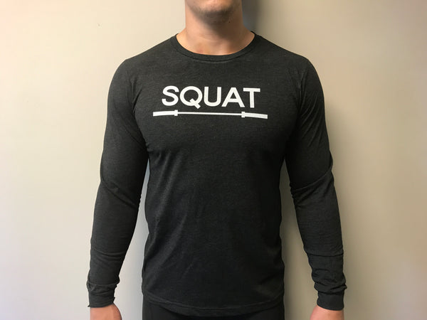 """SQUAT"" Tri-Blend Long Sleeve Crew (Charcoal Black Unisex)"
