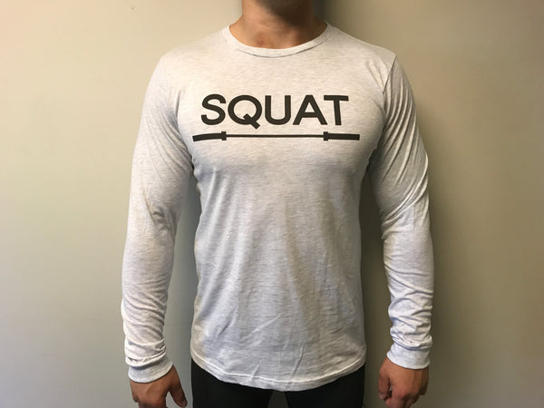"""SQUAT"" Tri-Blend Long Sleeve Crew (White Fleck Unisex)"