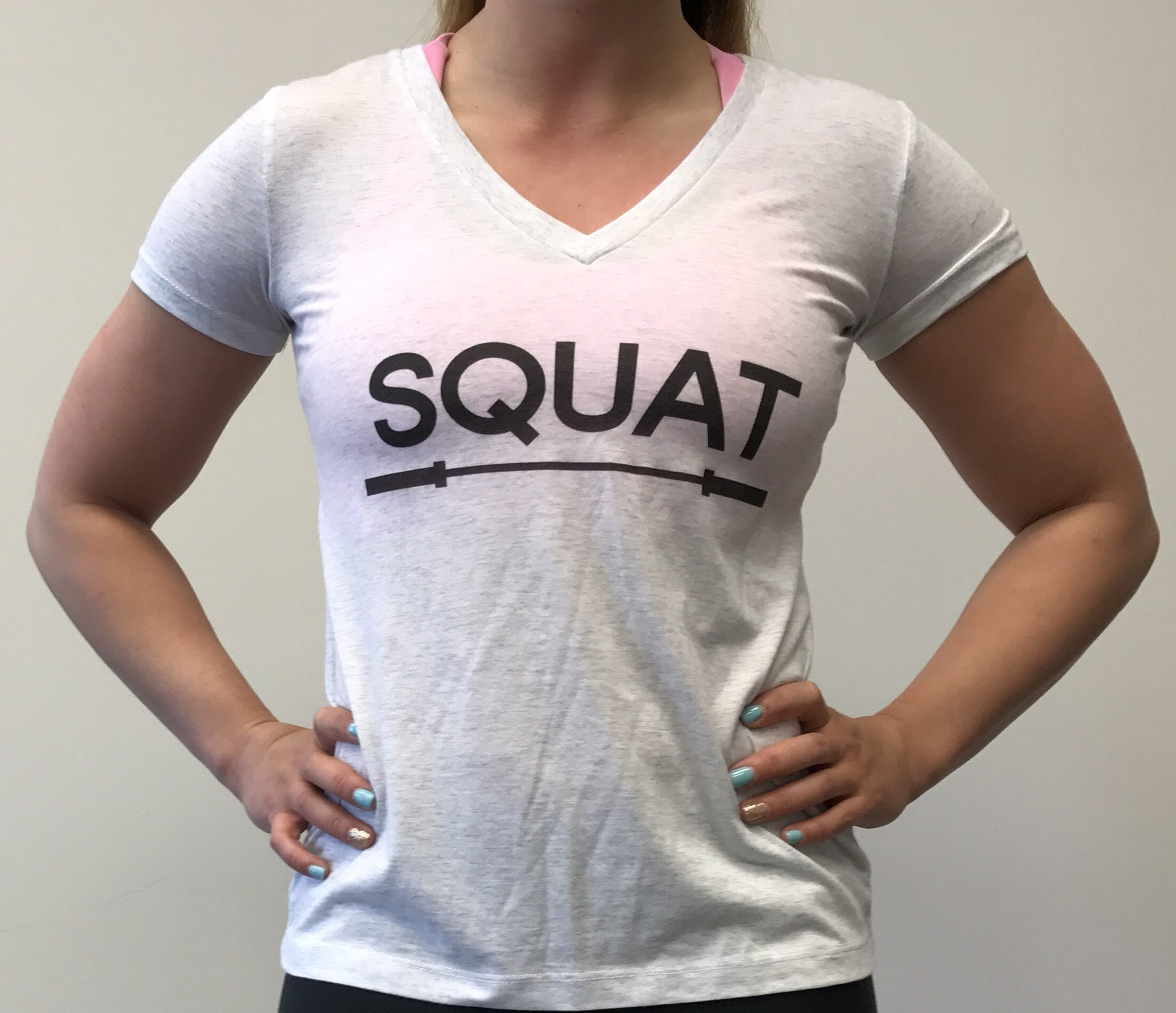 """SQUAT"" Tri-Blend V-Neck (White Fleck Women's)"