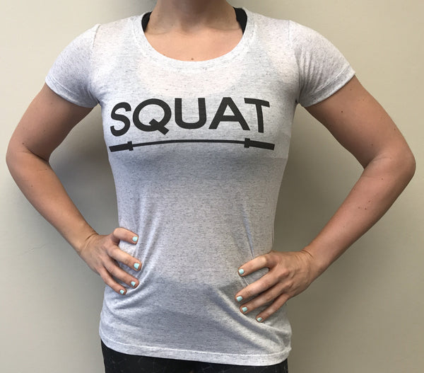 """SQUAT"" Tri-Blend Crew (White Fleck Women's)"