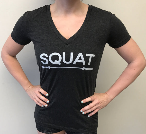 """SQUAT"" Tri-Blend V-Neck (Charcoal Black Women's)"