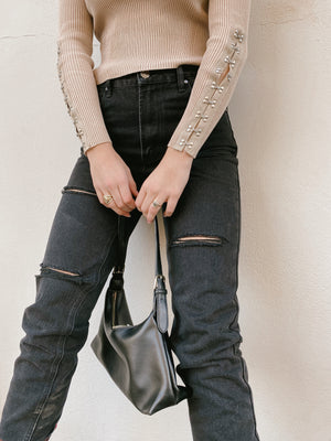 uptown black distressed denim