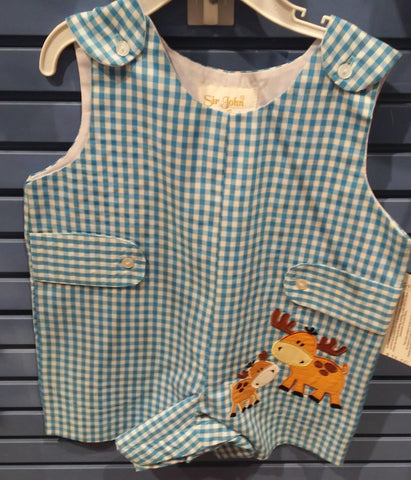 Rosalina Baby Gingham Moose Applique Romper