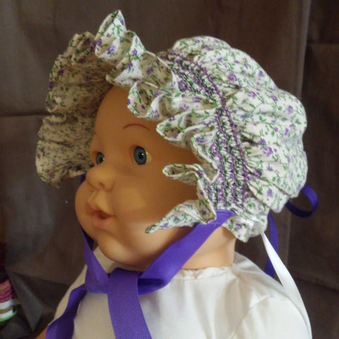 Courtney's Creations Handsmocked Bonnet 051619Q