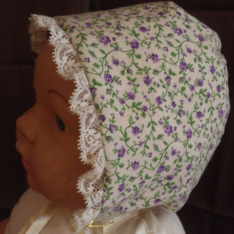 Courtney's Creations Bonnet with Lace Trim 051619T