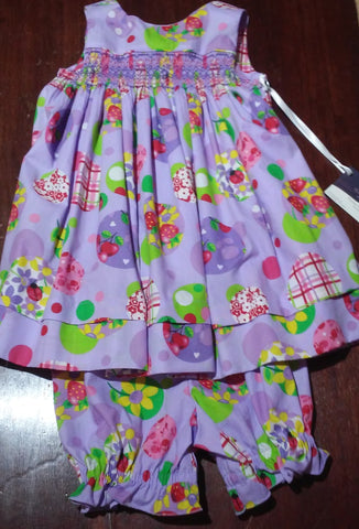 Courtney's Creations Smocked Back Wrap Sundress with Bloomers 051519D