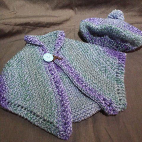Hand Knit by Denise Frenchie Cape & Hat  122019F