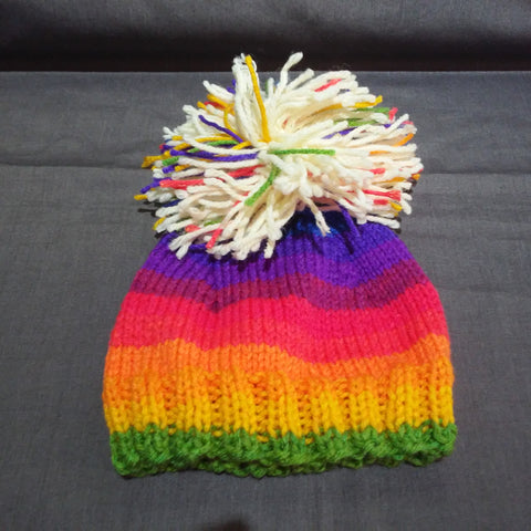 Hand Knit by Denise Multi ColorHat 122019E