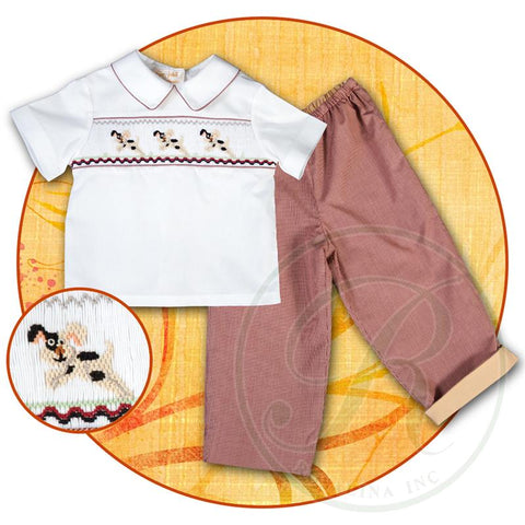 Rosalina Baby Smocked Trio Puppy Run Pant Set