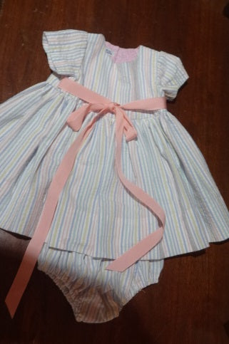 Courtney's Creations Grosgrain Ribbon Tie Dress with Diaper Cover 051519I