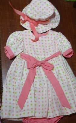 Courtney's Creations Dress with Diaper Cover & Hat 051519Q