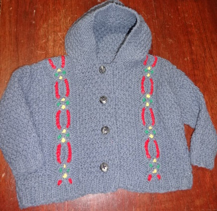 Hand Knit by Denise Blue Hooded Sweater