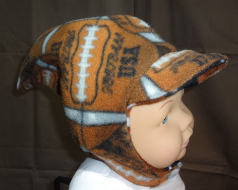 Courtney's Creations Football Fleece Chin Strap Hat 051719G