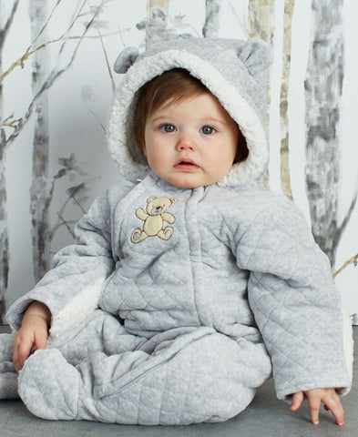 Little Me Baby Quilted Faux-Fur Hooded Pram Bodysuit