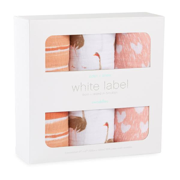 Aden & Anais 3-pack White Label Swaddle Blanket