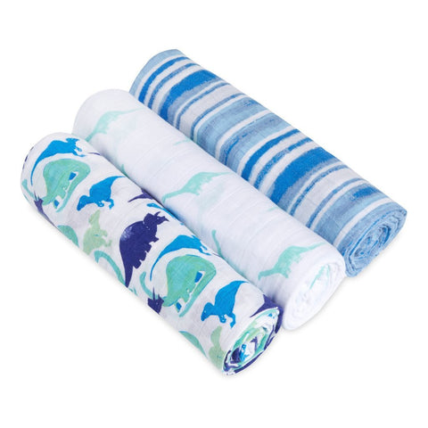 Aden & Anais White Label Swaddle Blanket 3-pack - Jurassic