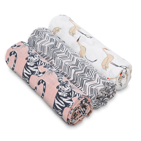 Aden & Anais White Label Swaddle Blanket 3-pack - Pacific Paradise
