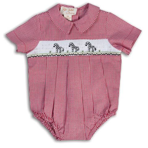 Rosalina Baby Gingham Smocked Bubble with Zebras