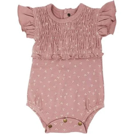 L'ovedbaby Organic Cotton Short Sleeve Smocked Bodysuit