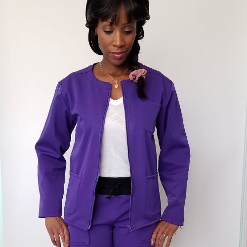 Purple Fleece Lined Scrub Jacket For Women