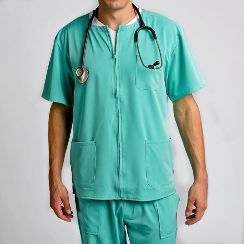 Men's Zip Front Scrub Top